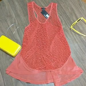 NWT Crocheted Sheer Coral Top